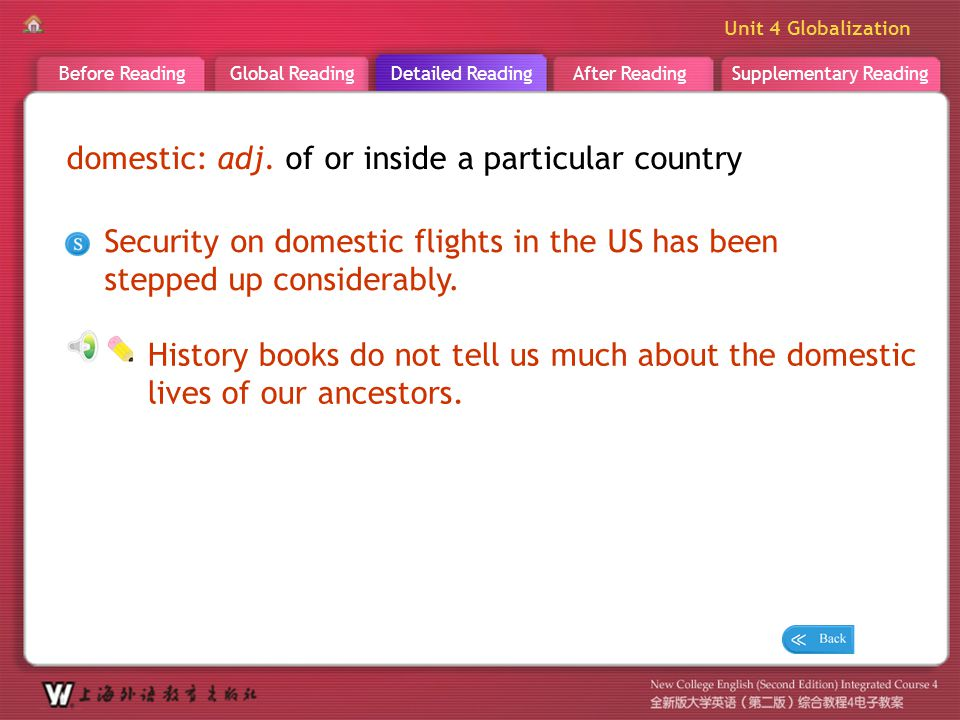 D R _ word _domestic domestic: adj. of or inside a particular country