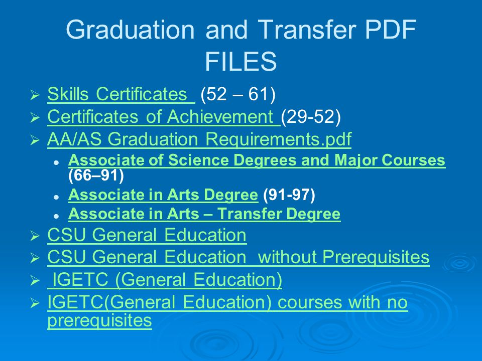 Graduation and Transfer PDF FILES