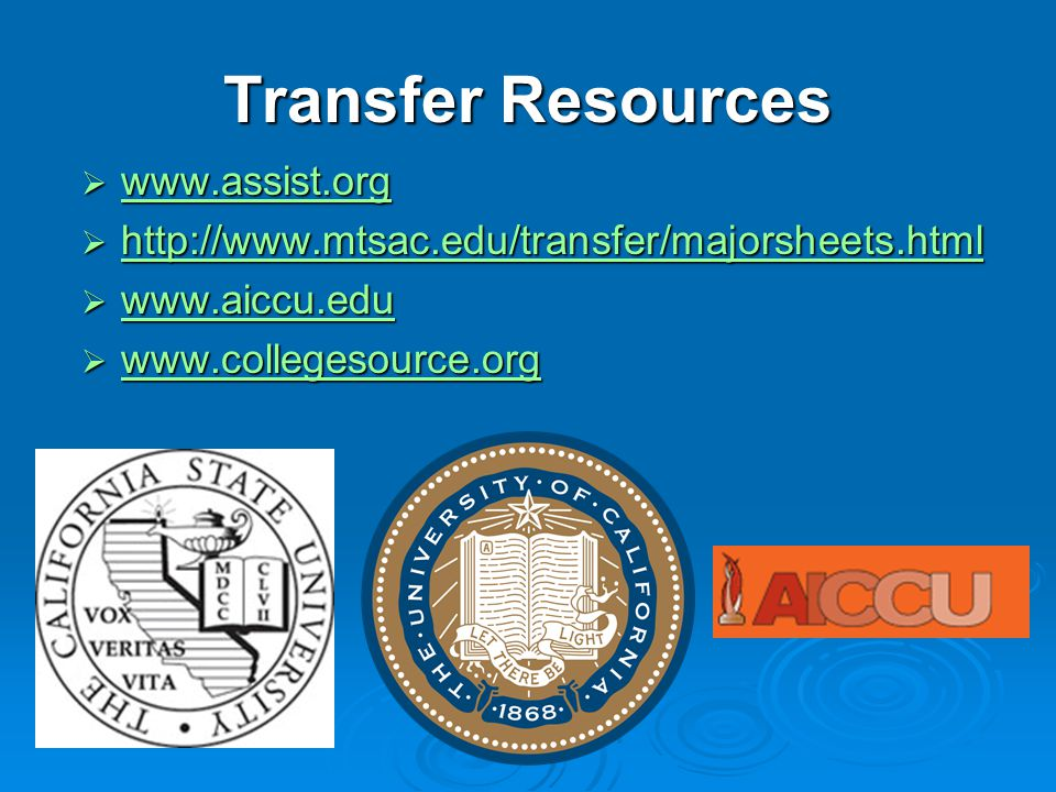 Transfer Resources www.assist.org