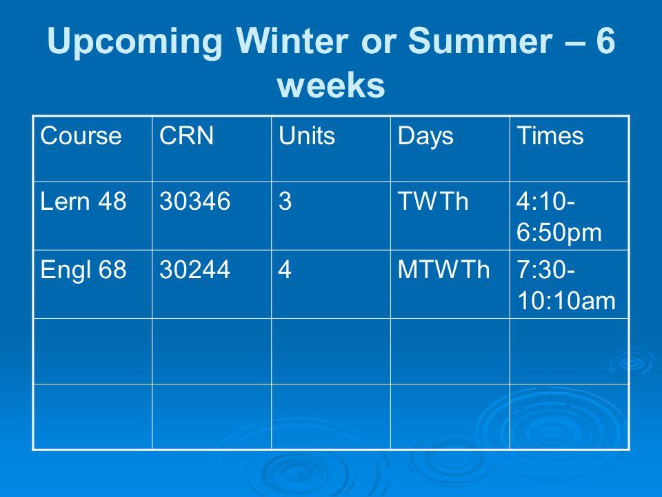 Upcoming Winter or Summer – 6 weeks