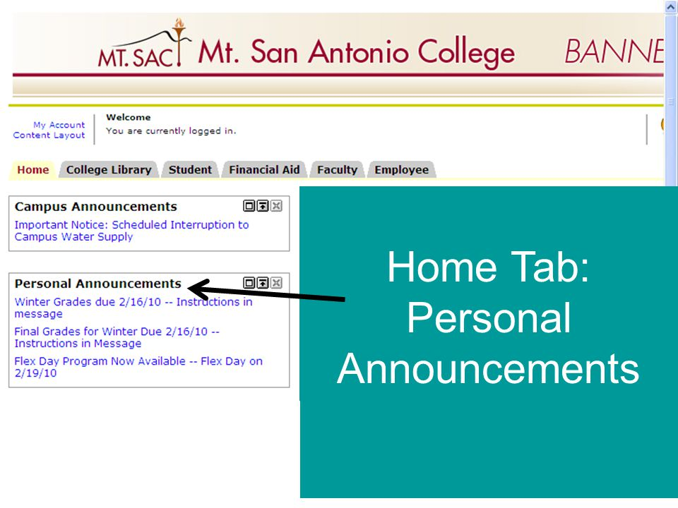 Home Tab: Personal Announcements