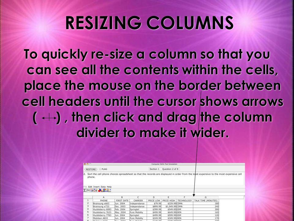 RESIZING COLUMNS