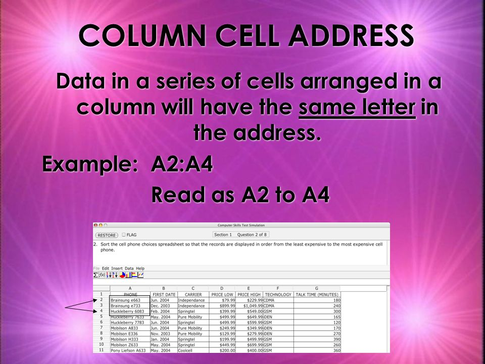 COLUMN CELL ADDRESS Data in a series of cells arranged in a column will have the same letter in the address.