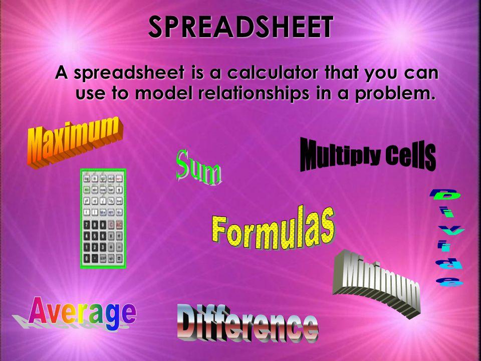 SPREADSHEET Maximum Multiply Cells Sum Formulas Divide Minimum Average