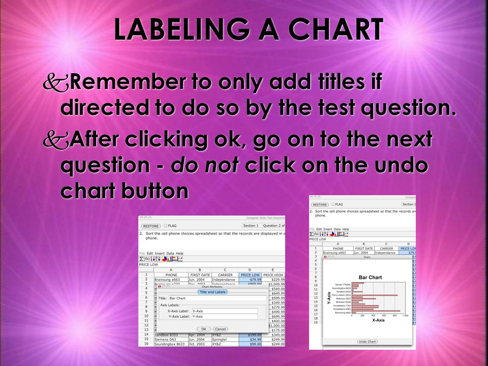 LABELING A CHART Remember to only add titles if directed to do so by the test question.