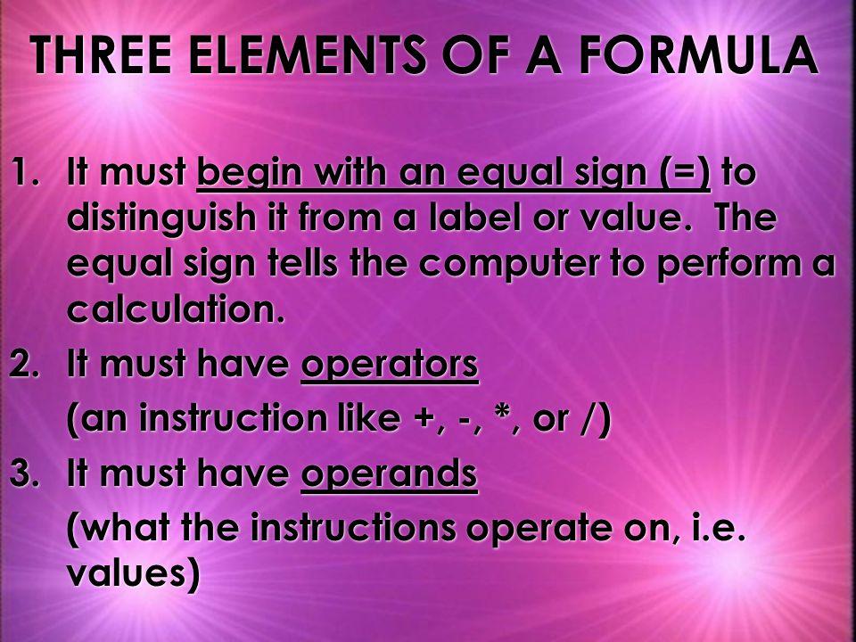 THREE ELEMENTS OF A FORMULA