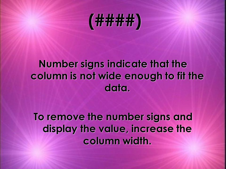 (####) Number signs indicate that the column is not wide enough to fit the data.