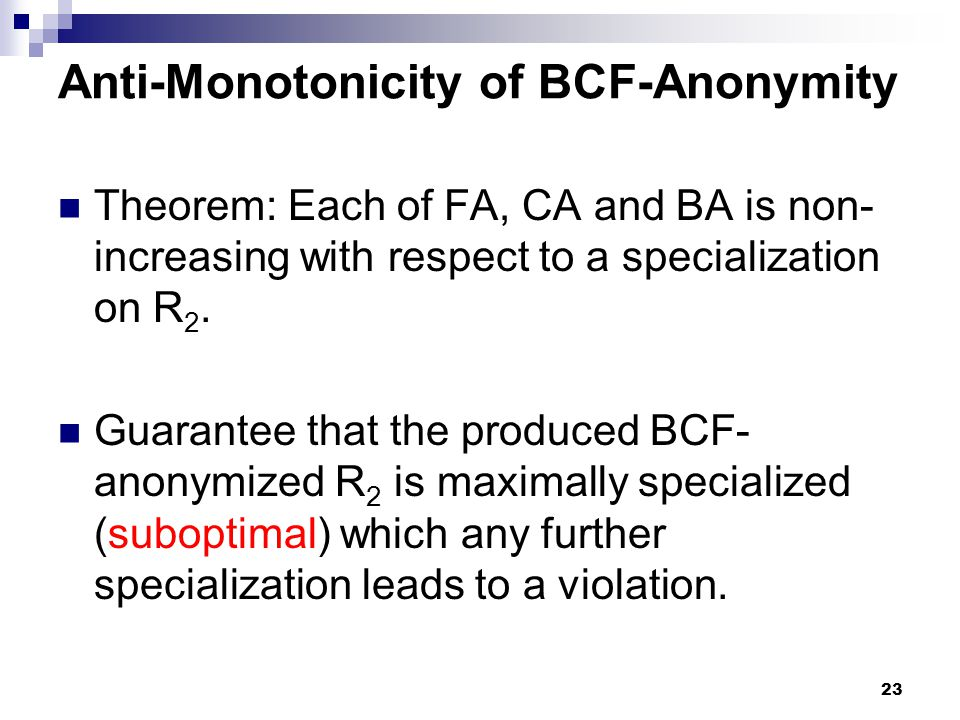 Anti-Monotonicity of BCF-Anonymity