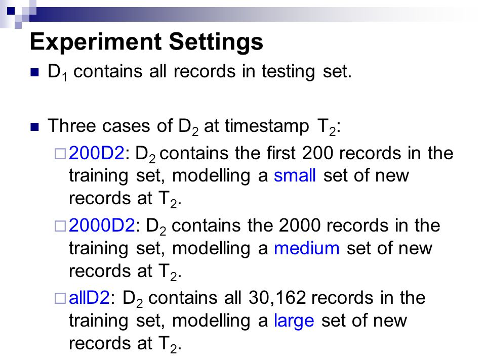 Experiment Settings D1 contains all records in testing set.