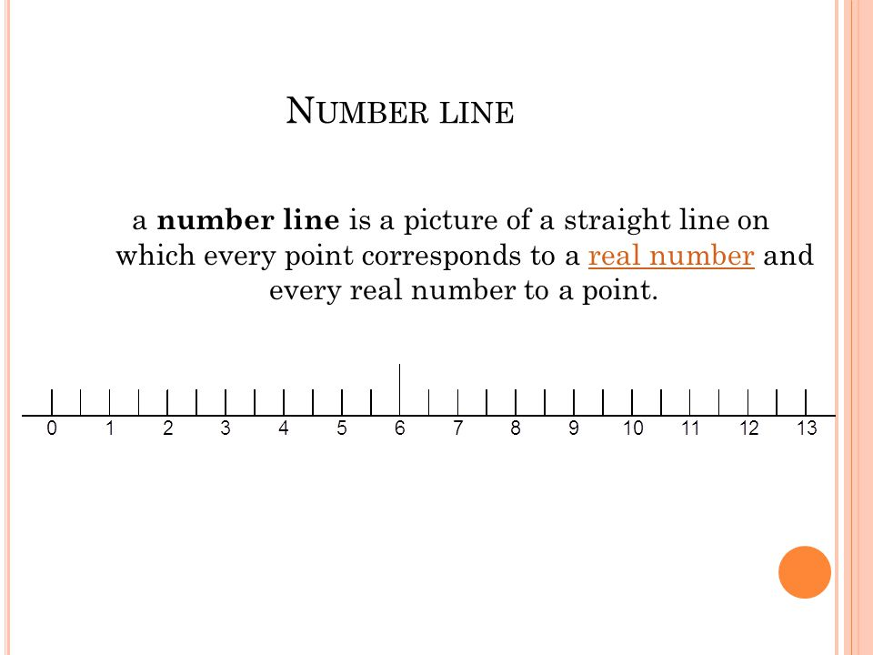 Number line a number line is a picture of a straight line on which every point corresponds to a real number and every real number to a point.
