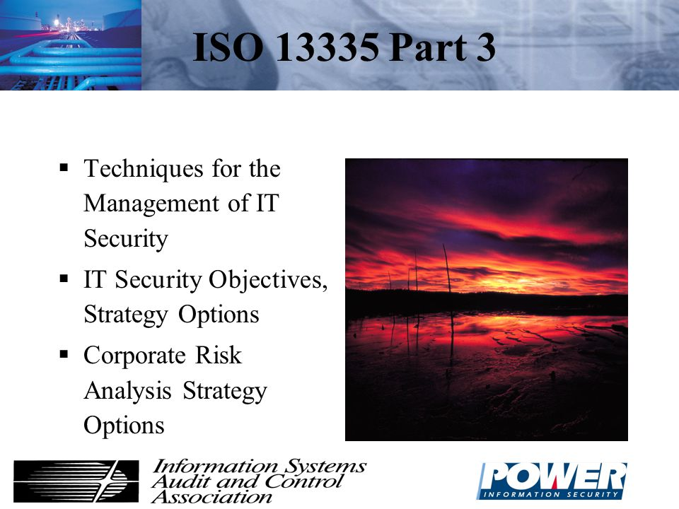 ISO 13335 Part 3 Techniques for the Management of IT Security
