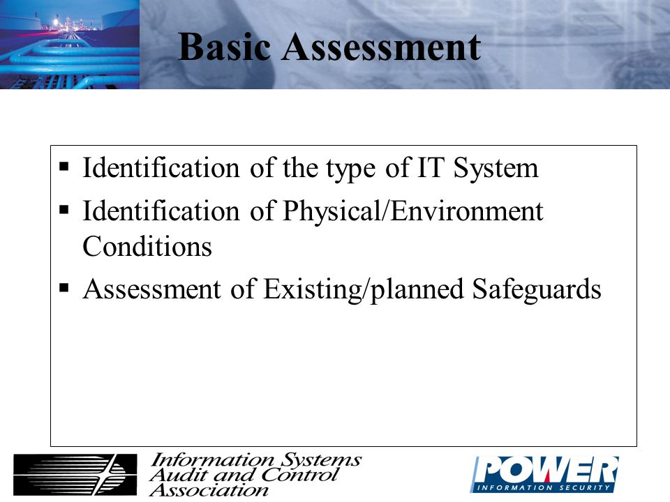 Basic Assessment Identification of the type of IT System