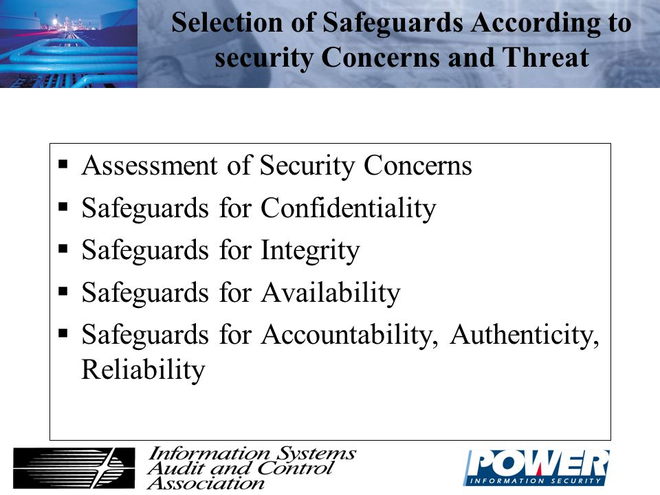 Selection of Safeguards According to security Concerns and Threat