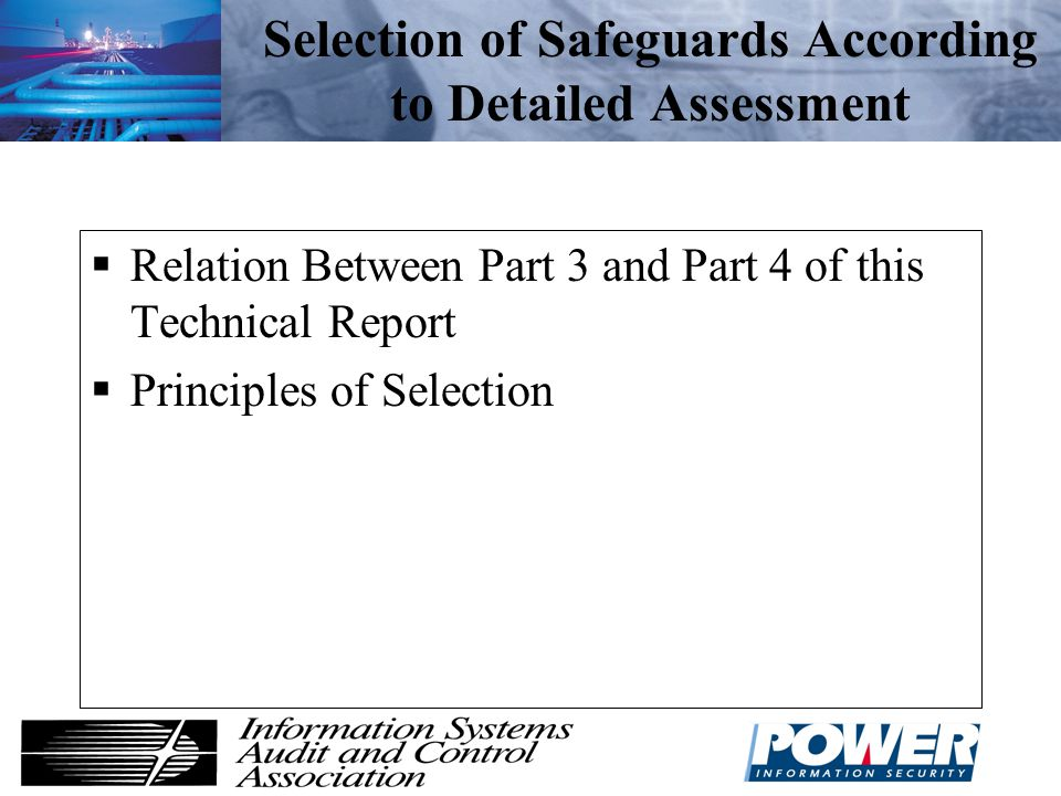 Selection of Safeguards According to Detailed Assessment