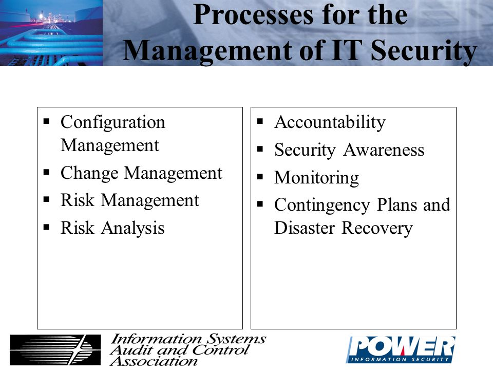 Processes for the Management of IT Security