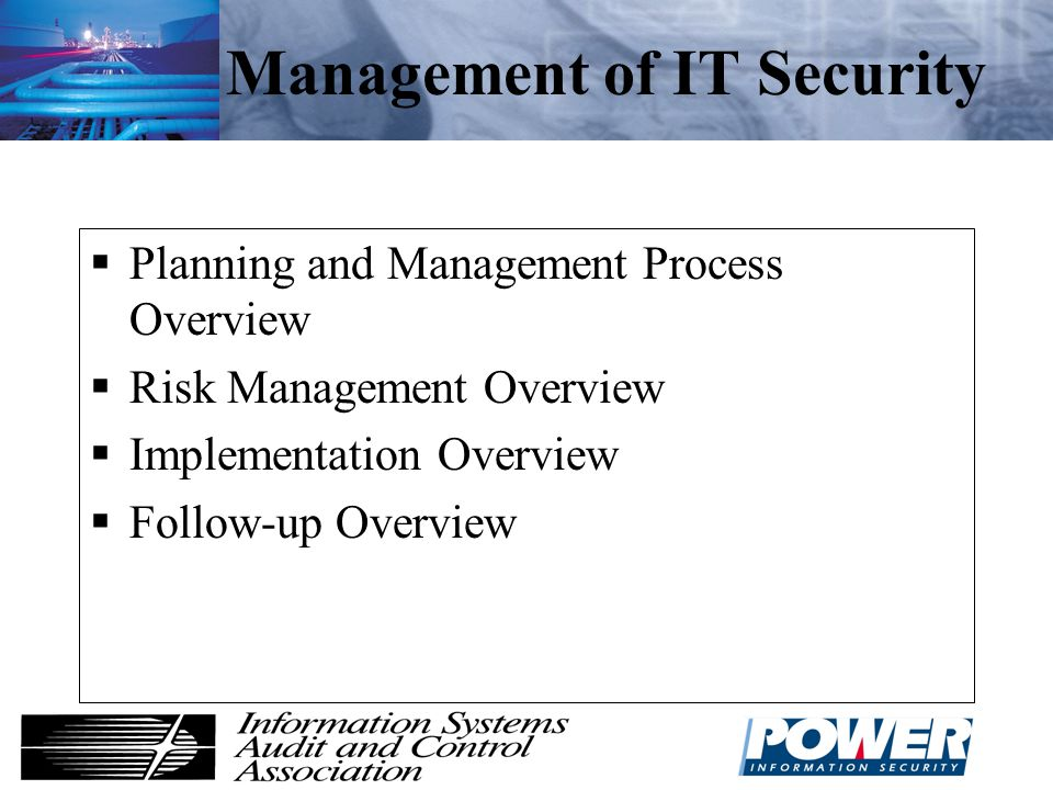 Management of IT Security