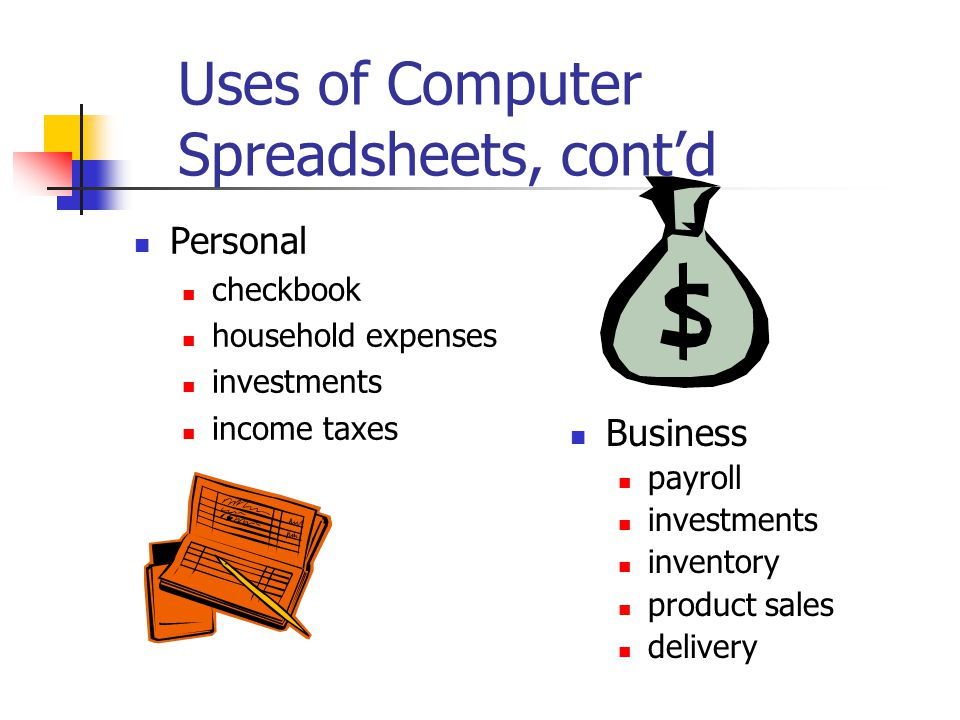 Uses of Computer Spreadsheets, cont'd