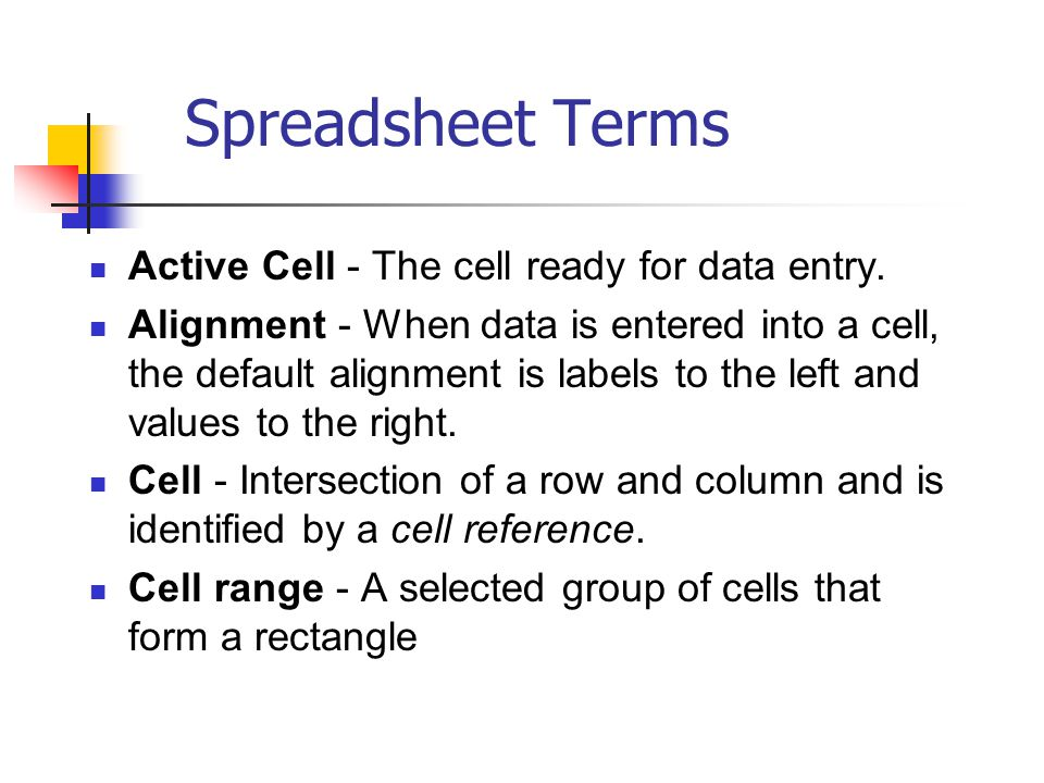 Spreadsheet Terms Active Cell - The cell ready for data entry.