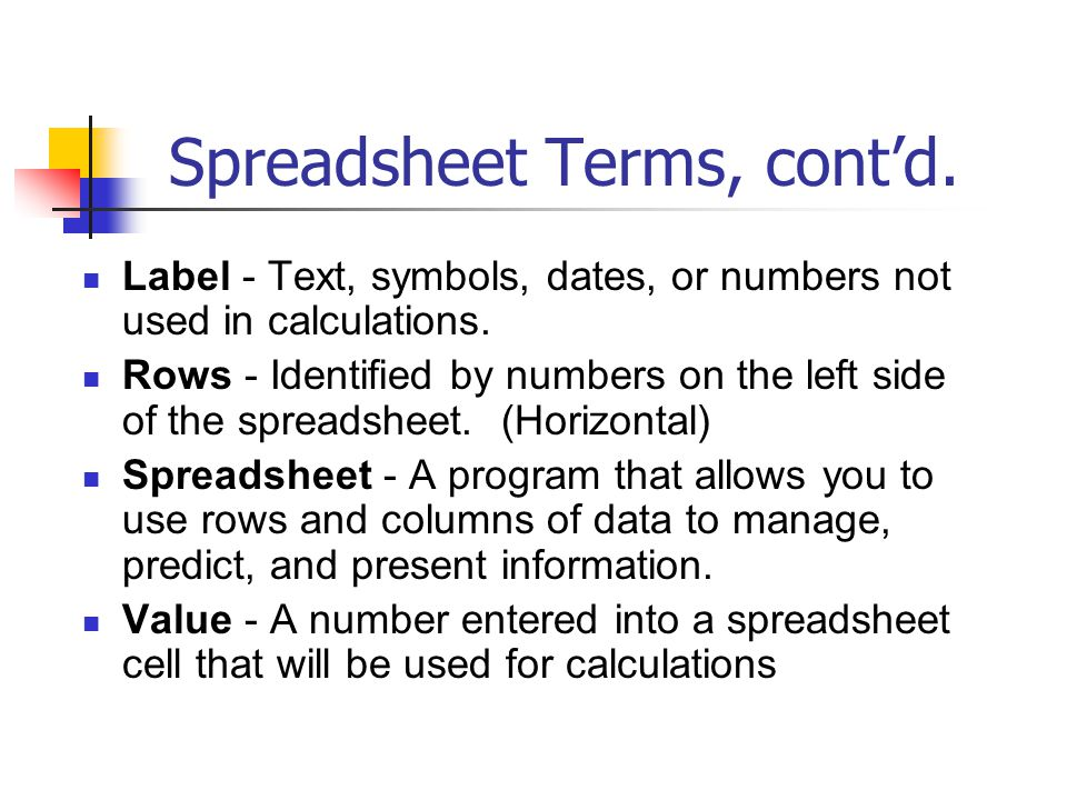 Spreadsheet Terms, cont'd.