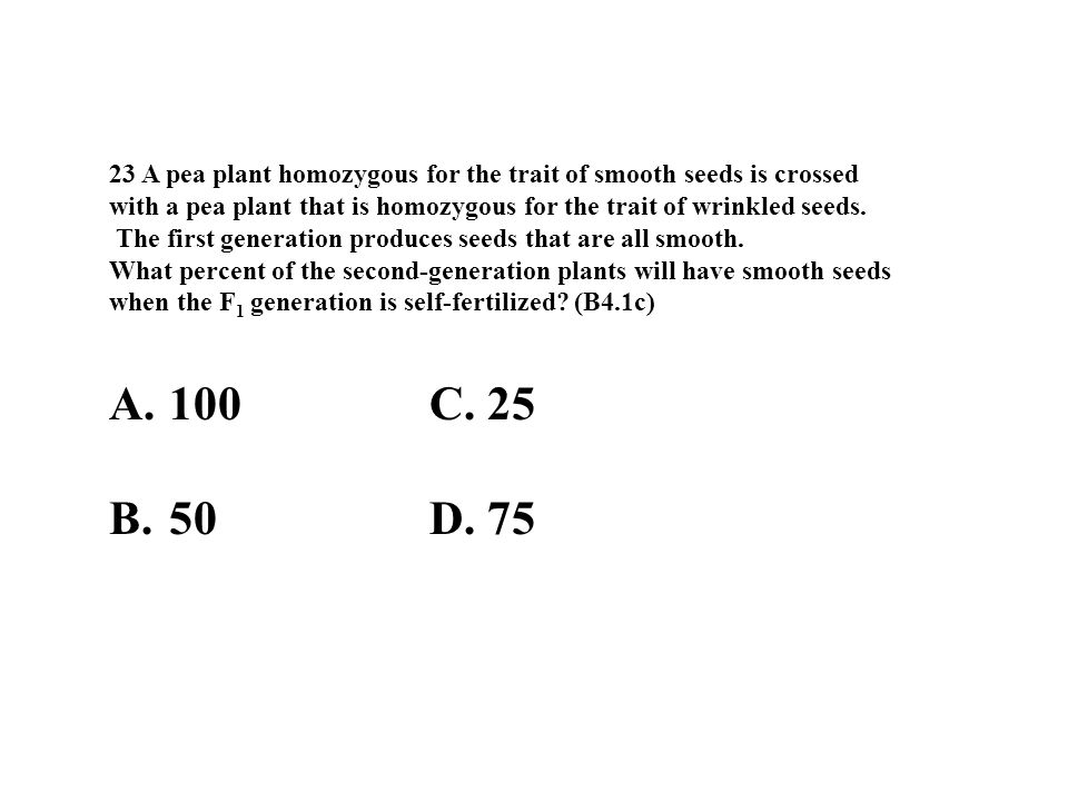23 A pea plant homozygous for the trait of smooth seeds is crossed