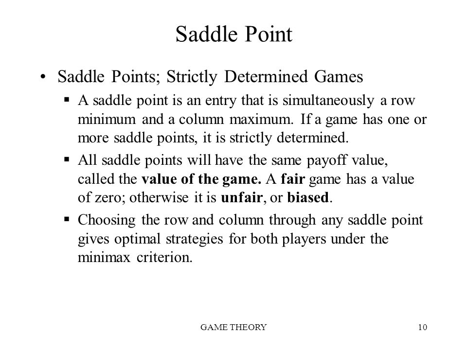 Saddle Point Saddle Points; Strictly Determined Games