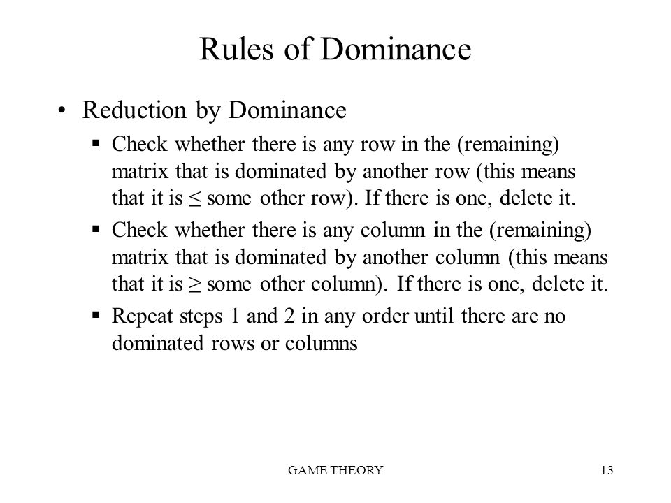 Rules of Dominance Reduction by Dominance