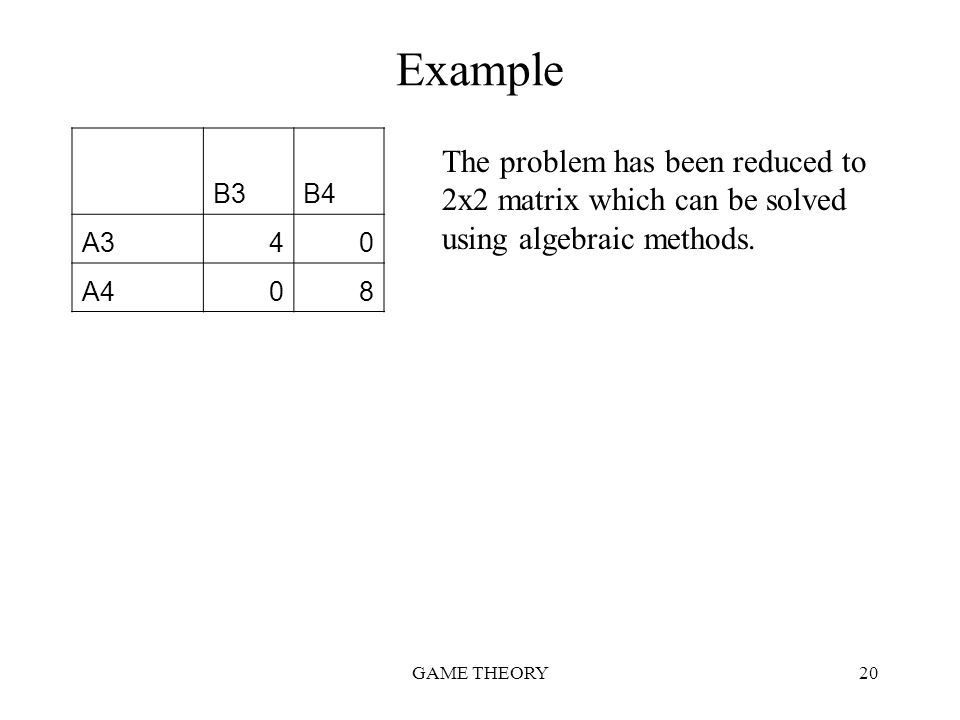 Example B3. B4. A3. 4. A4. 8. The problem has been reduced to 2x2 matrix which can be solved using algebraic methods.