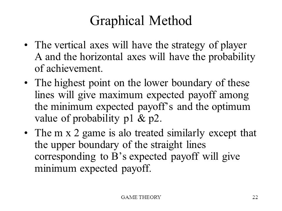 Graphical Method The vertical axes will have the strategy of player A and the horizontal axes will have the probability of achievement.