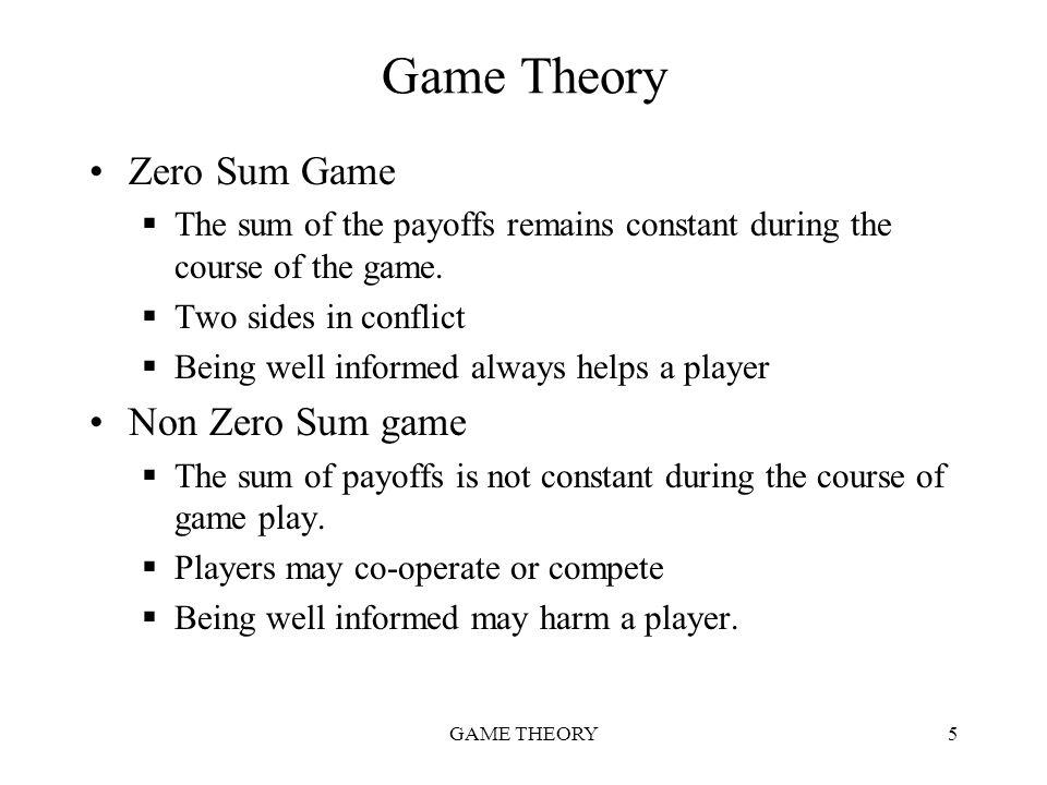 Game Theory Zero Sum Game Non Zero Sum game
