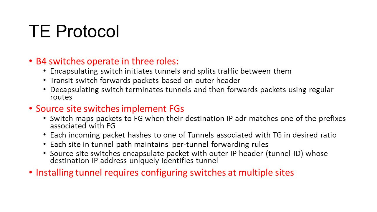 TE Protocol B4 switches operate in three roles: