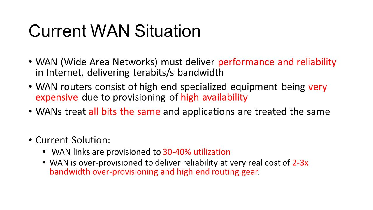 Current WAN Situation WAN (Wide Area Networks) must deliver performance and reliability in Internet, delivering terabits/s bandwidth.