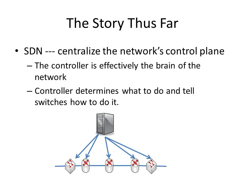 The Story Thus Far SDN --- centralize the network's control plane