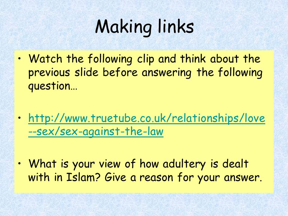 Making links Watch the following clip and think about the previous slide before answering the following question…
