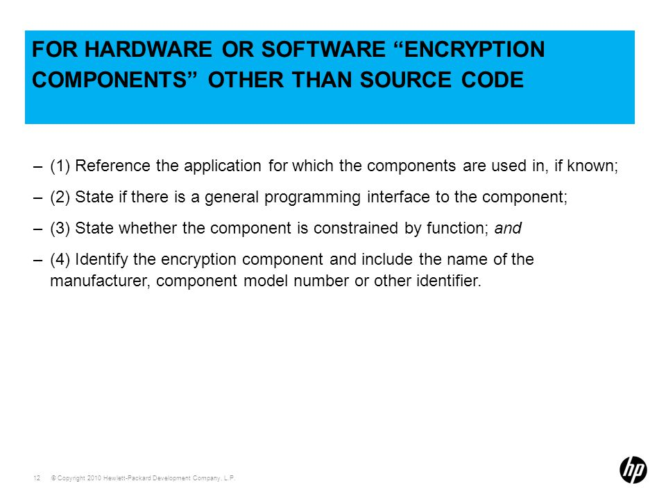 for hardware or software encryption components other than source code