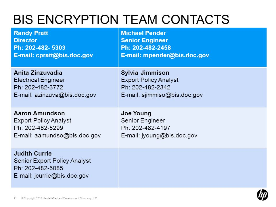 BIS Encryption Team Contacts