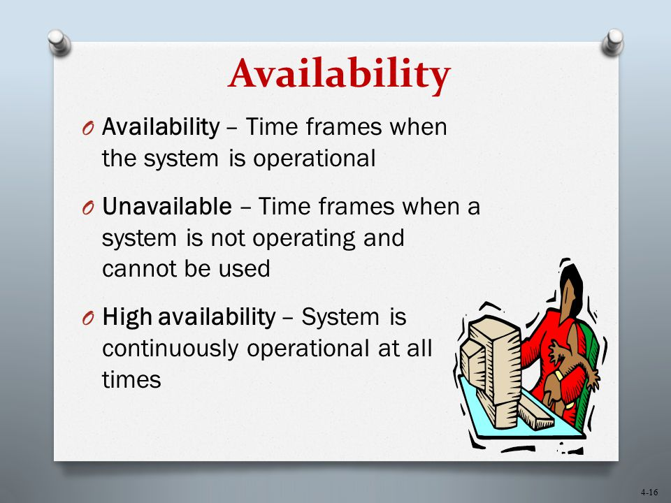 Availability Availability – Time frames when the system is operational