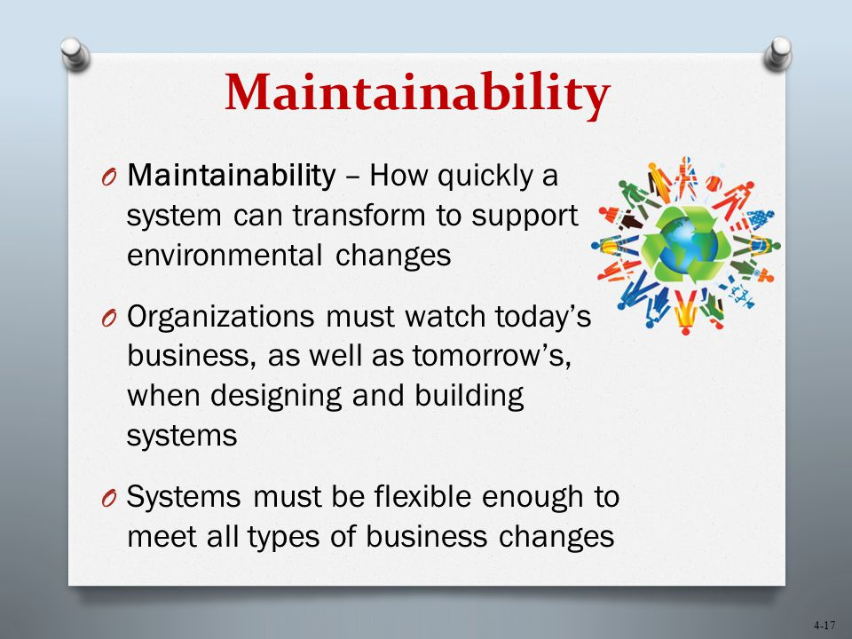 Maintainability Maintainability – How quickly a system can transform to support environmental changes.