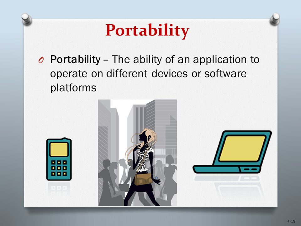 Portability Portability – The ability of an application to operate on different devices or software platforms.