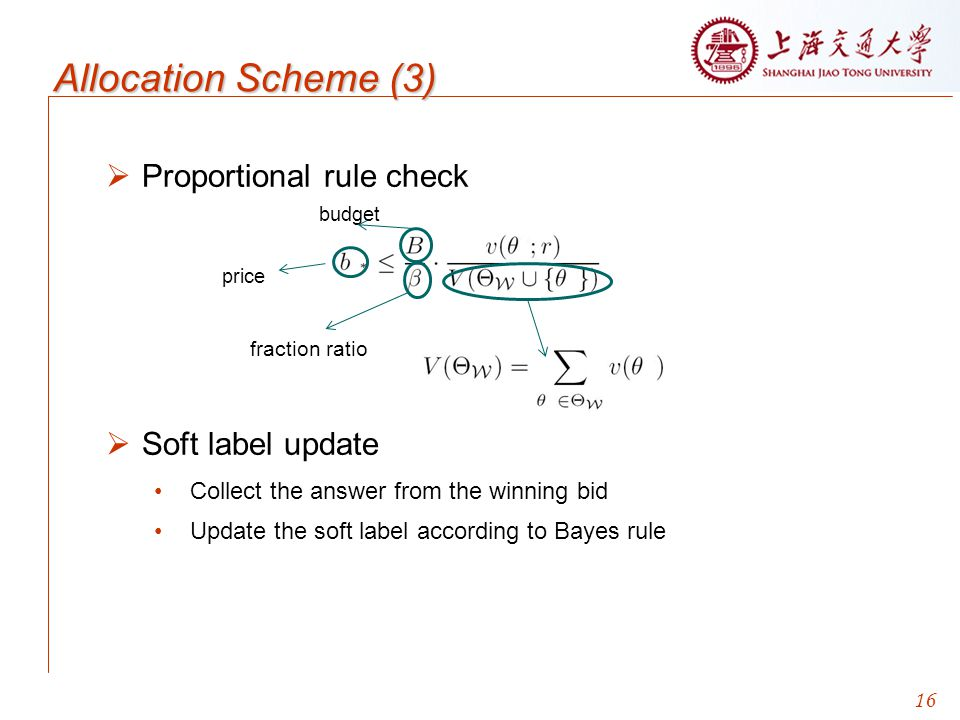 Allocation Scheme (3) Proportional rule check Soft label update