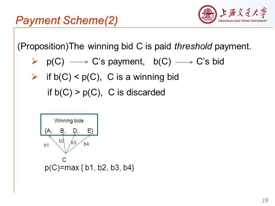 Payment Scheme(2) (Proposition)The winning bid C is paid threshold payment. p(C) C's payment, b(C) C's bid.
