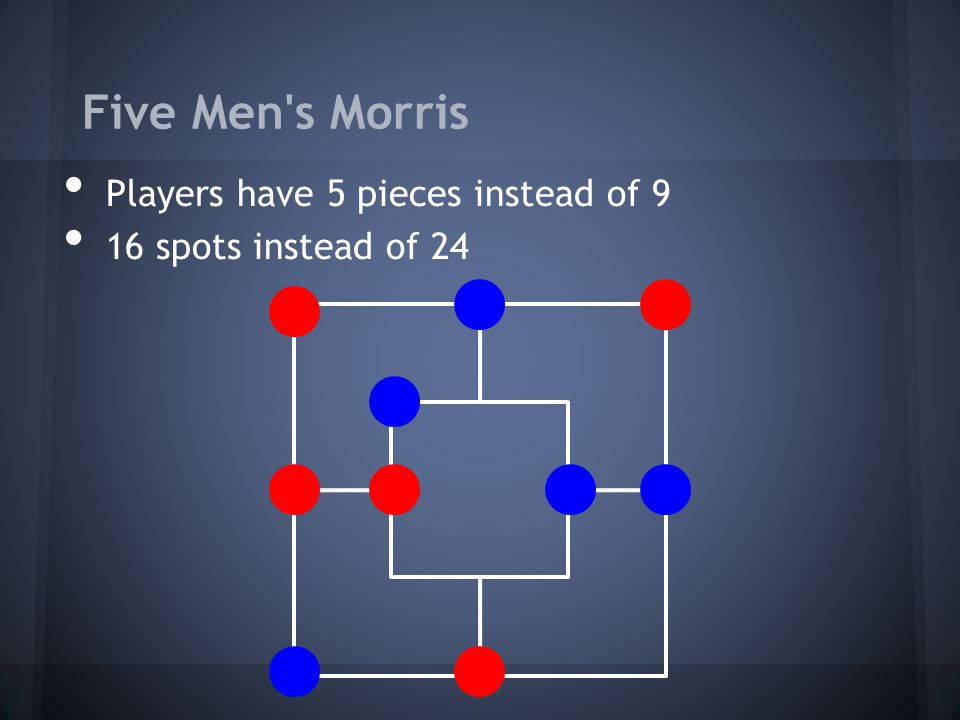 Five Men s Morris Players have 5 pieces instead of 9
