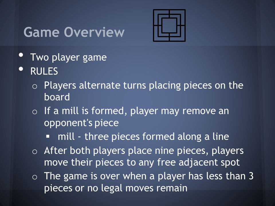 Game Overview Two player game RULES
