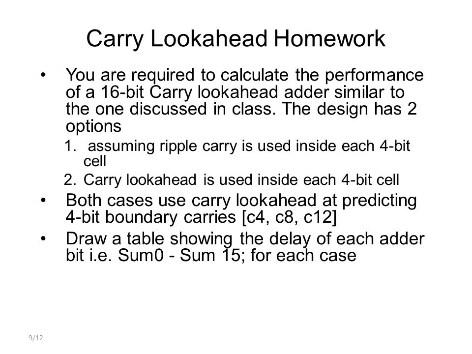 Carry Lookahead Homework