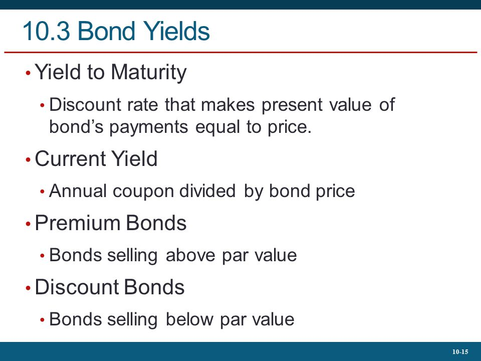 10.3 Bond Yields Yield to Maturity Current Yield Premium Bonds