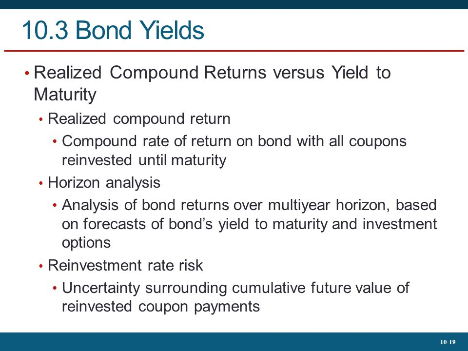10.3 Bond Yields Realized Compound Returns versus Yield to Maturity
