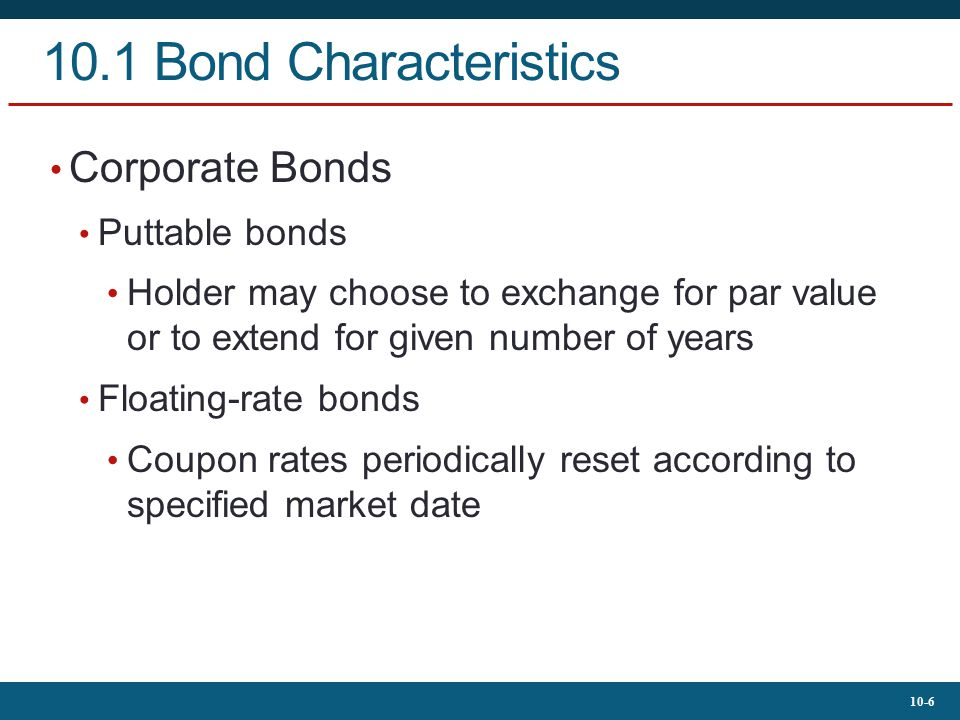 10.1 Bond Characteristics Corporate Bonds Puttable bonds