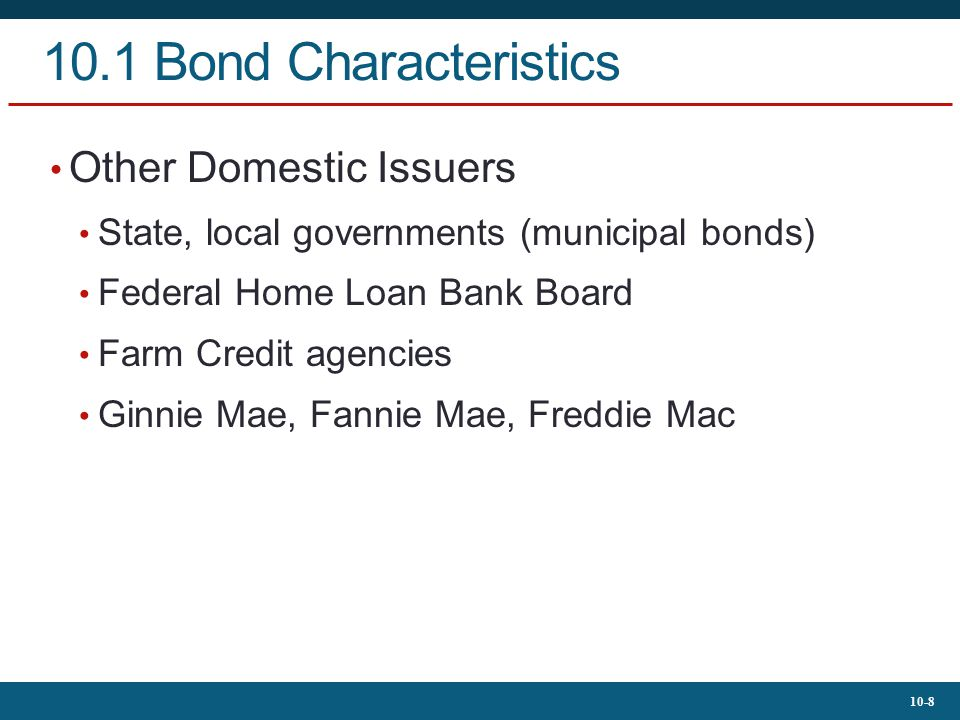 10.1 Bond Characteristics Other Domestic Issuers