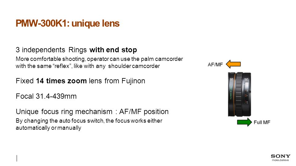 PMW-300K1: unique lens 3 independents Rings with end stop