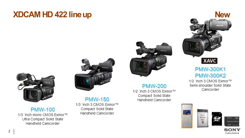 XDCAM HD 422 line up New PMW-300K1 PMW-300K2 PMW-200 PMW-150 PMW-100
