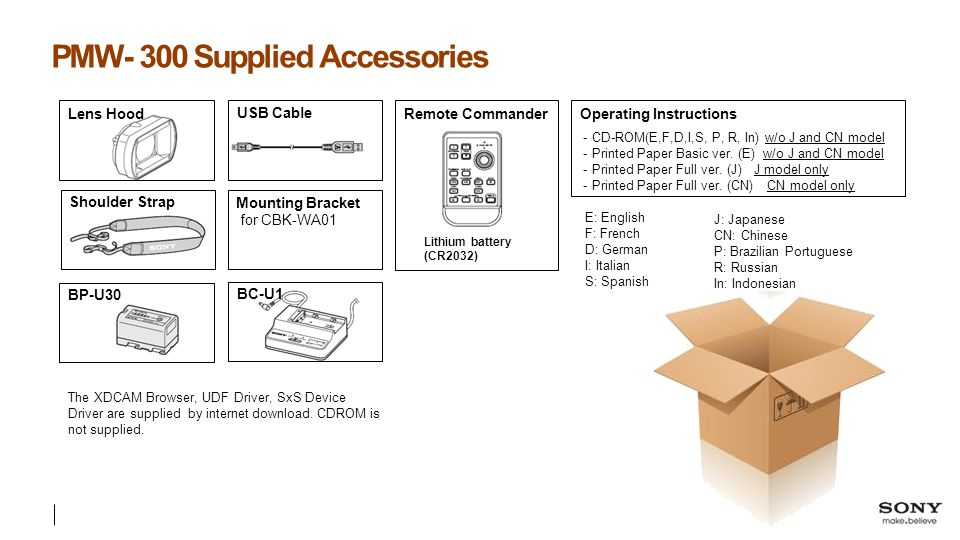 PMW- 300 Supplied Accessories